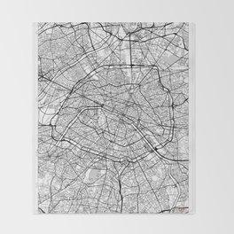 Paris Map White Throw Blanket