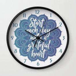 Gratitude Mandala Wall Clock