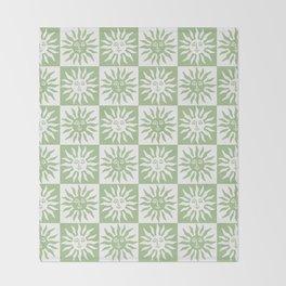 Mid Century Modern Sun Pattern Sage Green Throw Blanket