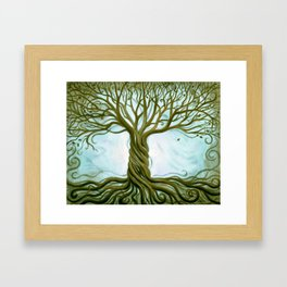 Blue and Brown Swirly Tree of Life by Renee Womack Framed Art Print