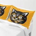 Vintage Type Halloween Black Cat Face Stars Orange by artbymar