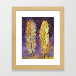 Gold Feathers Framed Art Print