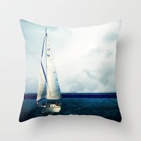 milwaukee Throw Pillows featuring Milwaukee Sailing by Dawn East Sider