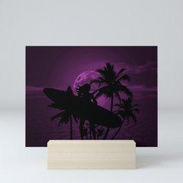 Purple Dusk with Surfergirl in Black Silhouette with Longboard Mini Art Print