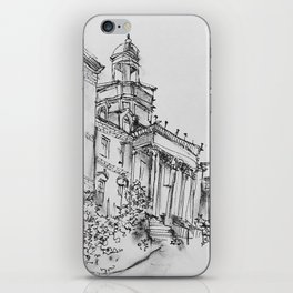 wilbur cross uconn ink and charcoal drawing iPhone Skin