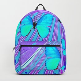 MIGRATING NEON BLUE BUTTERFLIES & PURPLE  ART Backpack