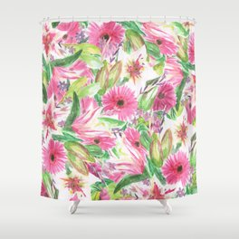 Pink Floral Print Shower Curtain