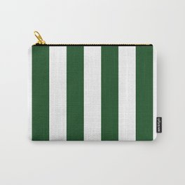 Jumbo Forest Green and White Rustic Vertical Cabana Stripes Carry-All Pouch