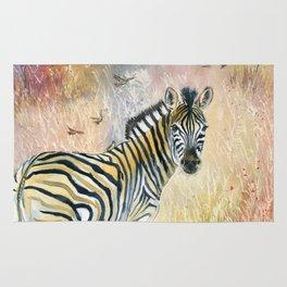 Zebra in Rainbow Savanna Rug