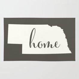 Nebraska is Home - White on Charcoal Rug
