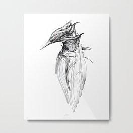Kingfisher-1. Black on white background-(Red eyes series) Metal Print
