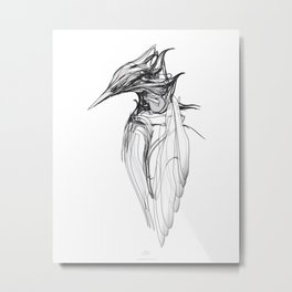 Kingfisher 1a. Black on white background-(Red eyes series) Metal Print
