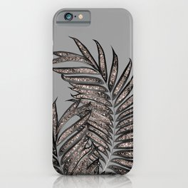 Gray Black Palm Leaves with Rose Gold Glitter #2 #tropical #decor #art #society6 iPhone Case