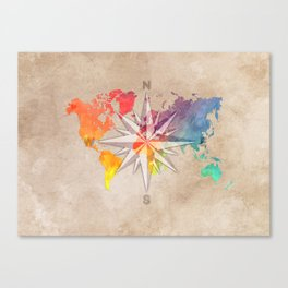 world map wind rose 1 #worldmap #map Canvas Print