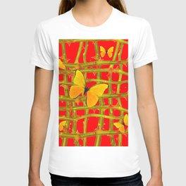 YELLOW BUTTERFLIES & RED THORN LATTICE T-shirt