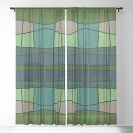 Green Pattern Turtle Sheer Curtain