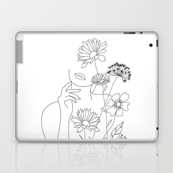 Minimal Line Art Woman with Flowers III Laptop & iPad Skin