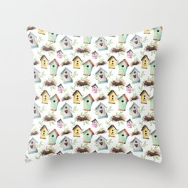Birdhouses and nests Throw Pillow