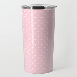 White Polka Dot Hearts on Light Soft Pastel Pink Travel Mug