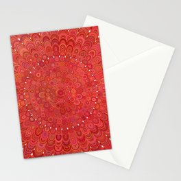 Red Floral Mandala Stationery Cards