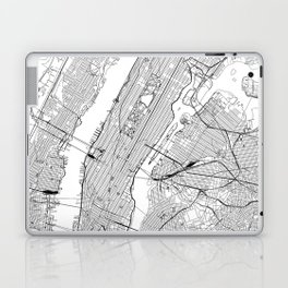 New York City White Map Laptop & iPad Skin
