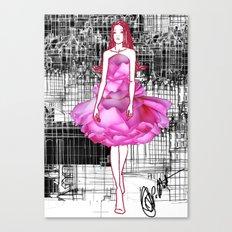 My rose dress fashion illustration concept. Canvas Print