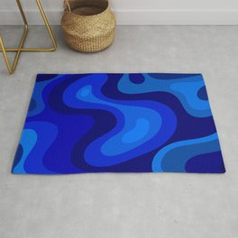 Blue Abstract Art Colorful Blue Shades Design Rug