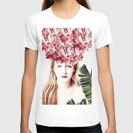 woman wit peony hat T-shirt