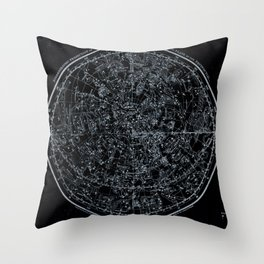 Northern Hemisphere Constellations White Blue Throw Pillow