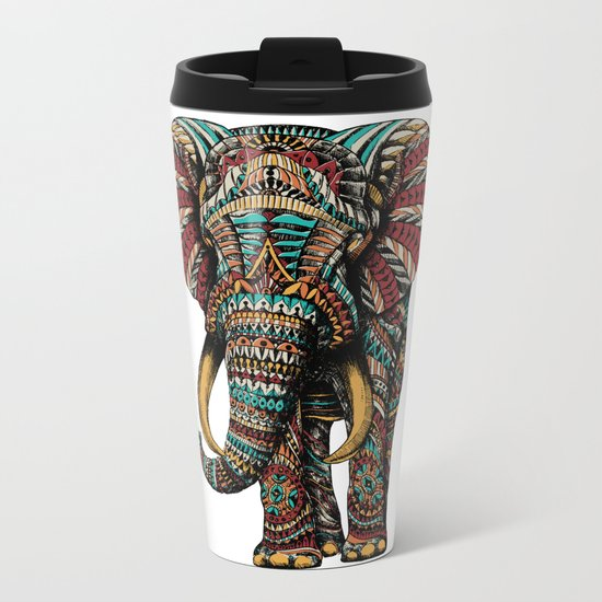 Ornate Elephant (Color Version) Metal Travel Mug