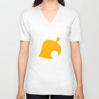 animal crossing V-neck T-shirts featuring Animal Crossing Autumn Leaf by Rebekhaart