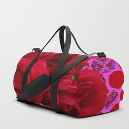 CLUSTER OF RED ROSES ON  RED-VIOLET ABSTRACT Duffle Bag
