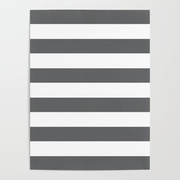 Simply Striped in Storm Gray and White Poster