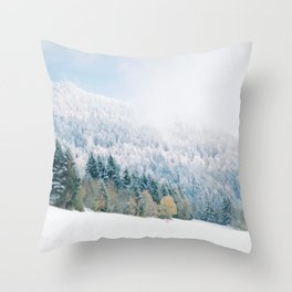 White Forest - French Alps Throw Pillow