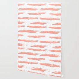 Pretty Pink Brush Stripes Horizontal Wallpaper