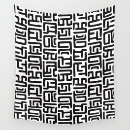 Black And White African Abstract Shapes Wall Tapestry