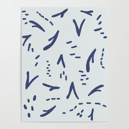 Blue Vee on Blue Poster