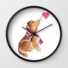 Watercolour Shetland Sheepdog Wall Clock