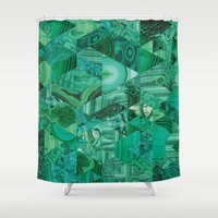 malachite Shower Curtains featuring Malachite Fusion by Kiss the Sky