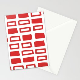 Mid Century Modern Abstract Squares Pattern 442 Red Stationery Cards