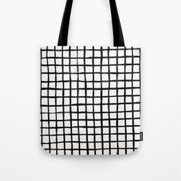 Strokes Grid - Black on Off White Tote Bag
