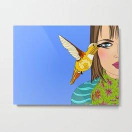 Hummingbird and Woman Illustration Metal Print