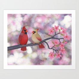 cardinals and crab apple blossoms Art Print