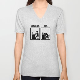 Workaholic Stickman Office Humor Unisex V-Neck