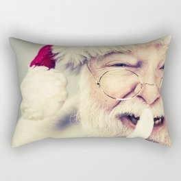 Vintage Looking Santa Claus with fingers on his lips saying be quiet Rectangular Pillow