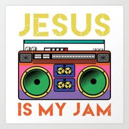 Jesus Is My Radio Jam A Colorful 80's Design T-shirt Design Vintage Retro Colorful Boombox  Art Print
