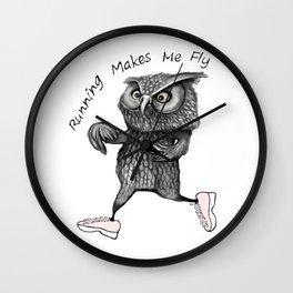 Running owl Wall Clock
