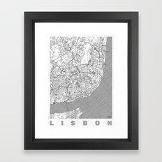 Lisbon Map Line Framed Art Print