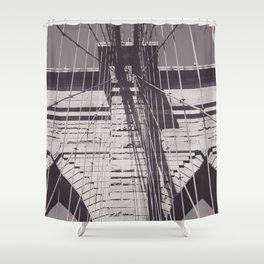 Brooklyn bridge details,  black & white architecture photography, new york city, NY,  city landscape Shower Curtain