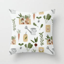 Botanical Gardening Pattern Pots And Plants Throw Pillow